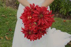 Deep Red Daisy Hydrangea Fall Autumn Christmas Wedding Bridal Bouquet, $50.00