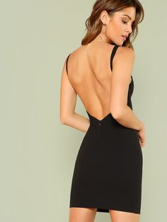 Shop Open Back Solid Form Fitting Dress online. SHEIN offers Open Back Solid Form Fitting Dress & more to fit your fashionable needs. Bandeau Dress, Bodycon Dress, Shein Dress, Natural Clothing, Spaghetti Strap Dresses, Latest Dress, Fashion News, Ladies Fashion, Womens Fashion