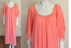 Vintage 70s Lucie Ann Nightgown Gown Full Length Stunning CORAL Nylon and Lace by MemphisVintage on Etsy