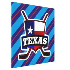 Texas Hockey Flag Logo Box Canvas