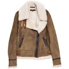Rag & Bone Finch Shearling Jacket ($1,875) ❤ liked on Polyvore featuring outerwear, jackets, coats, tops, asymmetrical zip jacket, blouson jacket, shearling bomber jacket, brown shearling jacket and bomber jacket