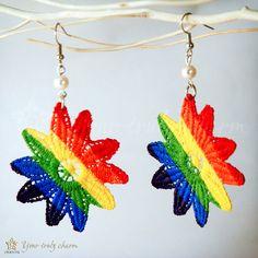 Lace earrings rainbow flower with pearllike beads by OrientalColour, $7.50