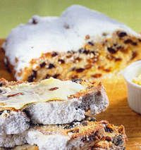 German Stollen- Holiday Bread with rum flavoured raisins and nuts