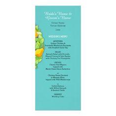 Pear Tree teal Wedding Menu Card