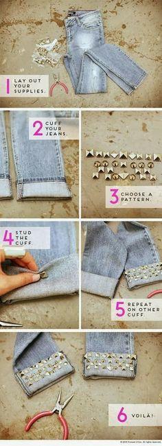 #DIY, #craft, #cute, #fashion, #cool Una forma muy original de customizar esos jeans que te quedan muy largos!