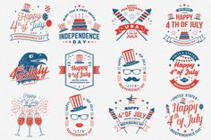 4th of July Badges/Logos/Cards #usa #independence #happy #america #red #day #july #vintage #patriotic #fourth