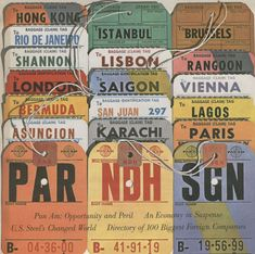 A photograph from the August 1962 issue of Fortune Magazine showing various Pan Am baggage tags.