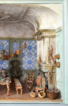 Belgium stage and costumer designer: Thierry Bosquet's detailed models - a fanciful 18th century-style european kitchen. (pic 2/2. see pic1 for other half)