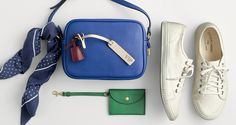 J.Crew women's polka-dot bandana, Signet bag, embossed bag tag, coin purse and Tretorn® canvas T56 sneakers.