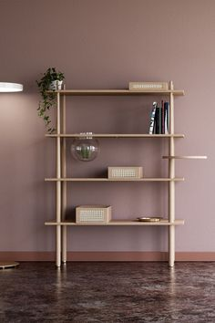Stories is a flexible shelving unit where you can put the things you love the most on display and share your life stories. Stories consists of 4 shelves, one of which has an opening with a brass plate for your small bits and bobs. Interior Stairs, Living Room Interior, Panel Led, Gold Floor Lamp, Luminaire Design, Modern Room, Danish Design, Stores, Interior Lighting