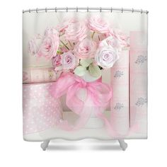 Dreamy Shabby Chic Pink Roses and Pink Books Cottage Art - Romantic Pink Pastel Roses Pink Books Art Shower Curtain by Kathy Fornal