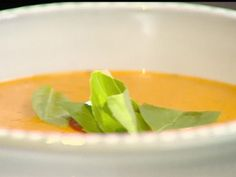 Roasted Tomato Soup from FoodNetwork.com (G P: strain the soup. I often replace cream in soups with a potato...it really makes a deliciously thick and creamy soup and much more digestible.