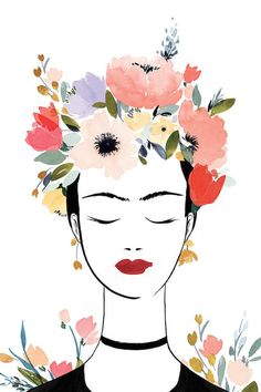 frida kahlo paintings Flower Crown Frida I by Isabelle Z is printed with premium inks for brilliant color and then hand-stretched over museum quality stretcher bars. Kahlo Paintings, Art Paintings, Art Painting Flowers, Canvas Quote Paintings, Canvas Painting Designs, My Canvas, Canvas Wall Art, Art Sketches, Art Drawings