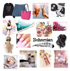 """"""""""" by emmizzzz on Polyvore featuring moda, Monki, Lipsy, Converse, Too Faced Cosmetics e Keen Footwear"""