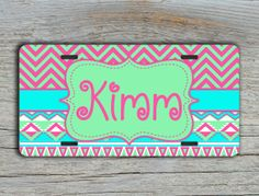 Monogrammed car accessory cute front license - Front license or bicycle size license plate #tiffanyblue #mintgreen #monogrammedgift #togildthelily