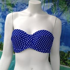 NEW JESSICA SIMPSON polka dot halter bandeau top L By Jessica Simpson! Halter bandeau top has soft cup bra, and a removable, adjustable neck strap, tho it functions best as a strapless, in my opinion. It hooks at back for flexible fit. Size large. SSAP13324 blue & white. Also available under separate listing size XL.  Retail $58. Please check my closet for new designer swimwear, sandals, boots, shoes and more! Jessica Simpson Intimates & Sleepwear Bandeaus