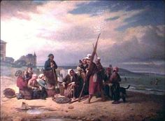 Pierre Duval le CAMUS Les bains de mer vers 1850 Trouville (France, 1790-1854) #Trouville-sur-Mer #Calvados #Normandie