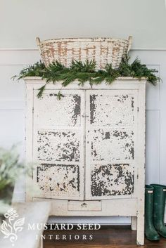 Winter Decor- Chippy white basket and greenery atop chippy white cabinet Miss Mustard Seed decor Rustic Country Decor, Country House Decor, Shabby Chic Dresser, Farmhouse Decor, Chic Decor, Cottage Decor, Chic Home Decor, Shabby Chic Room, Shabby Chic Furniture