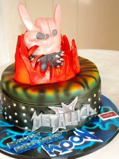 Rock ON!  #Metallica #Cake #rock #music #fun #studs #leather #birthday #cake more from #oushe #gourmet #bakeshop #dubai #uae Call 04 3850011 for a cake consultation