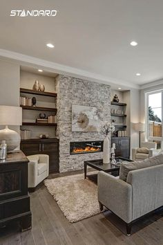 6 Honest Simple Ideas: Living Room Remodel On A Budget Window Treatments living room remodel before and after awesome.Small Living Room Remodel Mobile Homes living room remodel ideas budget.Living Room Remodel Before And After Butcher Blocks. Fireplace Built Ins, Home Fireplace, Living Room With Fireplace, Fireplace Design, Fireplace Ideas, Fireplace Shelves, Living Room Brick Wall, Small Gas Fireplace, Stacked Stone Fireplaces