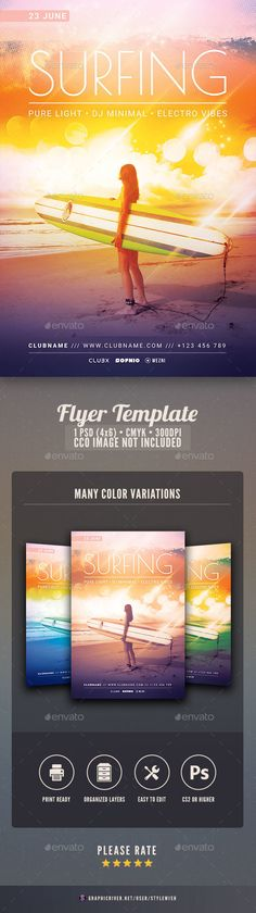 Surfing Flyer — Photoshop PSD #modern #poster • Download ➝ https://graphicriver.net/item/surfing-flyer/19490906?ref=pxcr