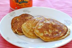 Fluffy Coconut Flour Pancakes: These pancakes are easy to make, and they are grain free, gluten free and dairy free. Coconut flour is much lower in carbs than normal flour, plus it's high in fiber, protein and has some good fat to boot. These pancakes are fluffy but the texture is a little different than a normal wheat flour pancake.