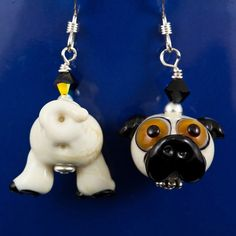 Pug Butt Face Lampwork Bead Earrings by maybeads on Etsy, $30.00