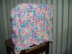 Mutli Color Crochet Fuzzy Soft Baby Toddler Blanket by AuntBugs, $29.95