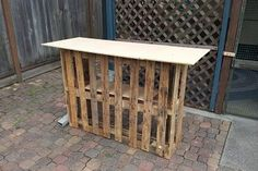 Original post said: bar made from pallets.... I think: Use open backside as a shoe rack and top rack for mail, purses, ect. Great for mudroom or cluttered entry.