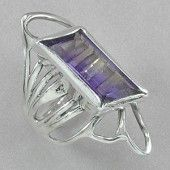 Jim Kelly Sterling Silver and Ametrine Ring. A faceted ametrine, set in sterling silver, on a sterling silver ring. Designed and made by Jim Kelly.