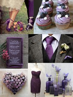 Pretty purple inspirations… Dye corks to create the heart décor; consider purple ties for the men, purple shoes for the women; use purple (ish) fruits in the food and décor...