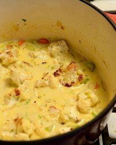 Roasted Garlic & Cauliflower Soup leave out flour and use full-featured coconut milk