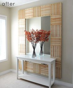 A wall mirror made of rulers! (Via http://www.designsponge.com/2011/09/before-after-ruler-wall-mirror.html)