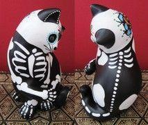 Skeleton Cats Dia De Los Muertos Sugar Skull
