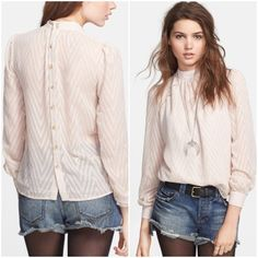 🎉2xHP!  Free People After Midnight Blouse 🎉Host Pick 3/12 & 09/26! New with tag, the After Midnight Blouse is sheer and features a textured zigzagging stripe design and buttons in the back. Button cuffs. Champagne colored. Size medium. Beautiful boho look! Free People Tops Blouses