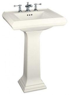 Kohler Memoirs Pedestal Sink $388 @ Home Depot. 24 w x 19 3/4 deep.