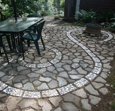 recycled concrete patio. Beautiful