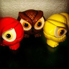 Groovy Trio of 60's Ceramic Owl Containers - Orange, Yellow, & Brown Fall Home Decor on Etsy, $38.00
