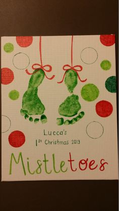 Footprint mistletoe holiday art - crayola finger paint, sharpies, circular objects to trace, and cute baby feet