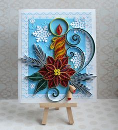 Christmas Quilled Card . ♦ Size of card: 150 x 180 mm. (6 х 7) ♦ Has blank white liner inside for your own sentiments. Suitable for any special occasion. ♦ The card is packaged carefully to ensure a safe delivery a 2 protective cellophane sleeve and the envelope mail from Kraft paper