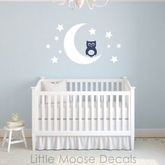 Baby Wall Decal Vinyl  Owl Moon Stars Nursery by LittleMooseDecals