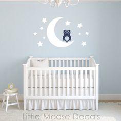 Baby Wall Decal Vinyl  Owl Moon Stars Nursery by LittleMooseDecals