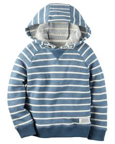 From the pumpkin patch to the football field, he's warm and cozy in this striped French terry hoodie.