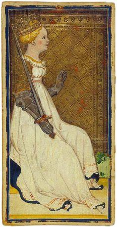 Queen of Swords  Bonifacio Bembo or family  Visconti-Sforza Tarot Cards  Italy, Milan, ca. 1450  173 x 87 mm  Purchased by Pierpont Morgan, 1911; MS M.630 (no. 23)