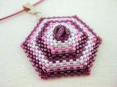 Beadwork Hexagon Peyote Pendant Beaded Seed Bead. $20,00, via Etsy.