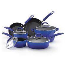 RACHAEL RAY Hard Enamel Nonstick Cookware Set 10-Piece Blue $99.95 LOWEST PRICE GUARANTEE