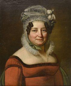 École Française du début du XIXe siècle - Portrait de femme à la robe rouge et [...], Tableaux Anciens et Modernes à De Baecque & Associés