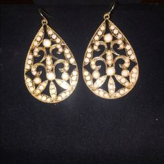 Gorgeous Gold and cream long earrings- never worn Gorgeous Gold and cream long earrings- never worn Jewelry Earrings