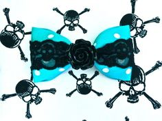 Vintage Rose Skull and Dots Hair Bow - Turquoise by PUNK UP BETTIE
