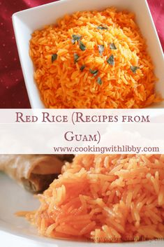 This recipe for Red Rice is similar to Spanish rice, except it& origins are from the Pacific Islands. It can be made in 30 minutes or less. Guam Recipes, Chef Recipes, Rice Recipes, Asian Recipes, Cooking Recipes, Ethnic Recipes, Asian Foods, Filipino Recipes, Dinner Recipes